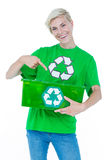 Blonde wearing a recycling tshirt holding recycle box Royalty Free Stock Photos