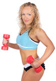 Blonde with weights Stock Photography