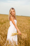 Blonde on wheat field Stock Images