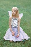 Blonde white Caucasian child kid girl with long hair wearing pink fairy wings and tutu tulle skirt holding magic wand Royalty Free Stock Image