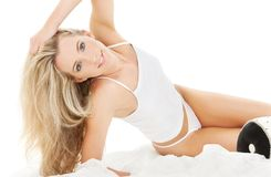 Blonde in white cotton underwear Stock Photography