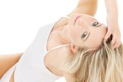 Blonde in white cotton underwear Stock Images