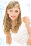 Blonde in white cotton underwear. Picture of blue-eyed blonde in white cotton underwear royalty free stock photography