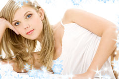 Blonde in white cotton underwear. Picture of blue-eyed blonde in white cotton underwear royalty free stock image