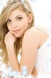 Blonde in white cotton underwear. Picture of blue-eyed blonde in white cotton underwear royalty free stock photos