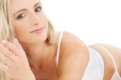 Blonde in white cotton underwear Stock Image