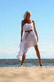 Blonde in a white dress Royalty Free Stock Photography