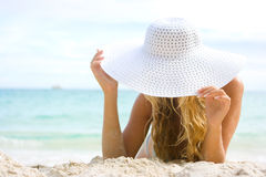 Blonde with white hat Royalty Free Stock Images
