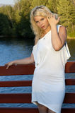 Blonde in white Royalty Free Stock Photos