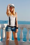 Blonde whith white hat Royalty Free Stock Photo