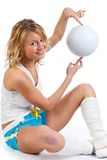Blonde wiith ball. Royalty Free Stock Photography