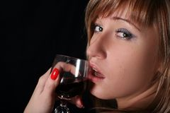 Blonde with  wine Royalty Free Stock Image
