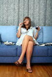 Blonde with wine and cigar Royalty Free Stock Images