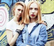 Blonde wirkliche Jugendliche zwei, die heraus zusammen am Sommer gut hängt Stockfotos
