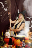 Blonde witch with a broom Royalty Free Stock Photos