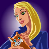 Blonde witch and orange cat Stock Photo