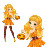 Blonde Witch With Pumpkin Stock Photos