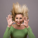 Blonde With Hair On End Stock Images