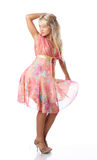 Blonde woman. In pink dress Royalty Free Stock Images