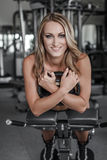Blonde woman abs exercise Royalty Free Stock Photo