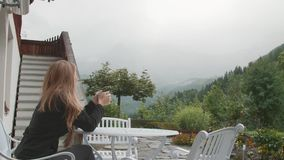 Blonde Woman in the Alps stock video footage