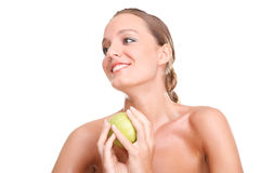 Blonde woman with apple Royalty Free Stock Photography