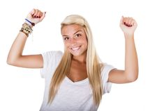 Blonde woman arms up Royalty Free Stock Images