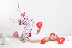 Blonde woman with balloons Royalty Free Stock Photos