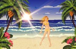 Blonde woman on beach Royalty Free Stock Photo