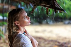 Blonde Woman at the beach Under The Rain Royalty Free Stock Photos
