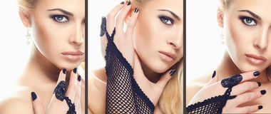 Blonde woman Beauty collage,Makeup. Blonde woman Beauty collage.Faces of women.Makeup beautiful girls stock image