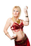 Blonde woman bellydancer Royalty Free Stock Photography