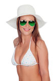Blonde woman in bikini with sunglasses Stock Images