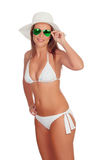 Blonde woman in bikini with sunglasses Royalty Free Stock Images