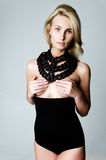 Blonde woman in black lingerie Royalty Free Stock Image