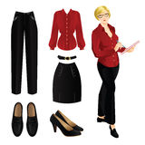Blonde woman in black pants and red blouse. Royalty Free Stock Images