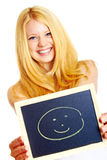 Blonde woman with a blackboard Royalty Free Stock Photo