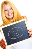 Blonde woman with a blackboard Stock Photo
