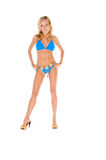 Blonde Woman In Blue Bikini And Heels royalty free stock photography