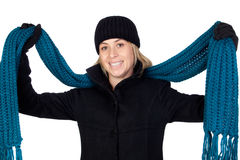 Blonde woman with a blue scarf Stock Images