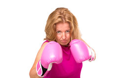 A Blonde Woman With Boxing Gloves Royalty Free Stock Photography