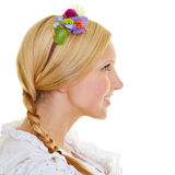 Blonde woman with braid and flowers in hair Royalty Free Stock Photos