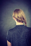 Blonde woman with braid on her head. Stock Photo