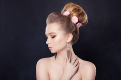 Blonde Woman with Bridal Hair Stock Photography