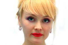Blonde woman with bright makeup Stock Photography