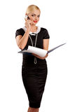 Blonde woman with cell phone. Over white Royalty Free Stock Photography
