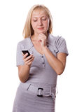 Blonde woman with cell phone isolated. #1 Stock Image