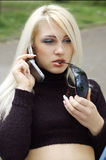Blonde Woman on Cellphone Stock Images