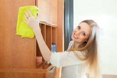 Blonde  woman cleaning furniture Stock Image