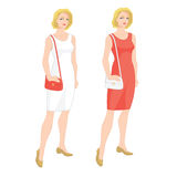 Blonde woman in cocktail dress Stock Image